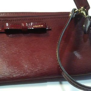 Coach Deep Red Wallet Wristlet Bag Billfold Bow